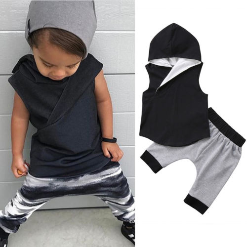 New Cotton Cute Kids Baby Boys Sleeveless Irregular Hooded Vest Tops+Harem Pants Shorts Outfits Casual Clothes Set одежда на маленьких мальчиков