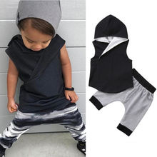 New Cotton Cute Kids Baby Boys Sleeveless Irregular Hooded Vest Tops+Harem Pants Shorts Ou