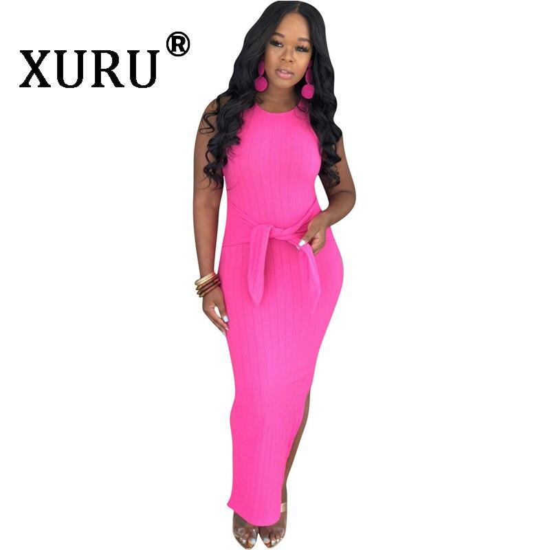 XURU split elastic waist sleeveless sexy dress new womens hot sale fashion casual summer