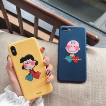 Cute Cartoon Lovers Phone Case For phone 7 iphone X 6S 8 6 Plus Fashion Lovely Patterned Soft Cases Matte Capa