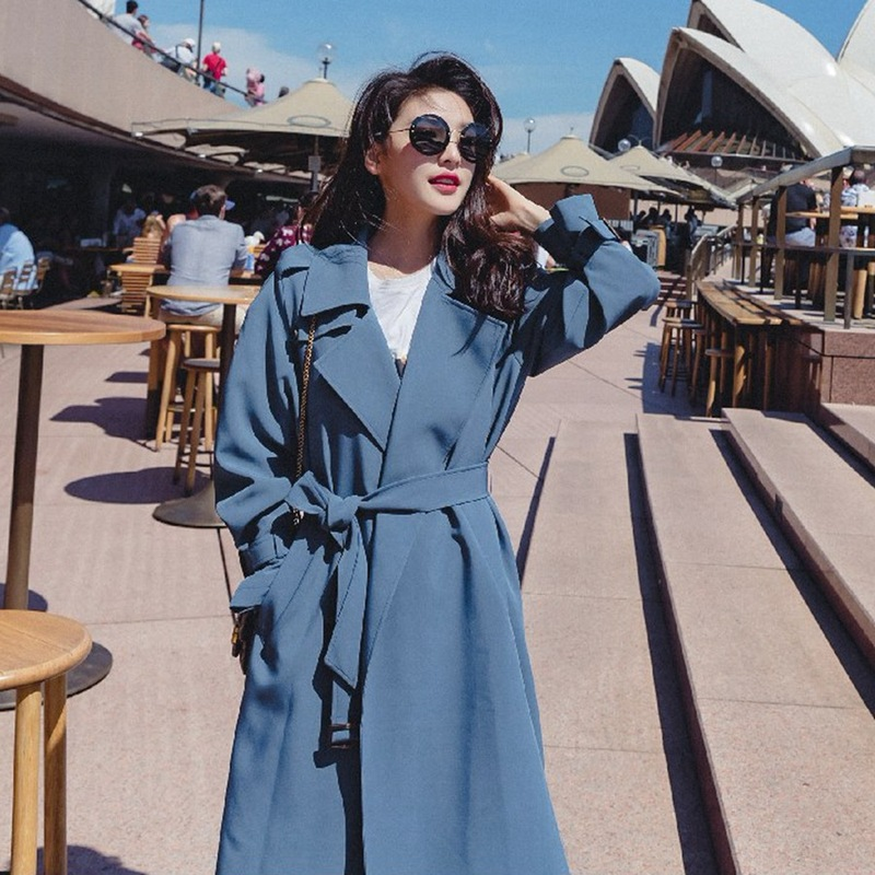 U-SWEAR Autumn Women's Windbreaker Lapel Long Sleeve Bandage Casual Loose Long Trench Female Coat 2019 Fashion Clothing