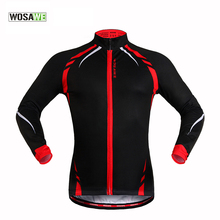 WOSAWE Long Sleeve Mens Cycling Jersey Spring Autumn Thin Thermal Fleece Windproof Sportswear MTB Road Bike Jacket