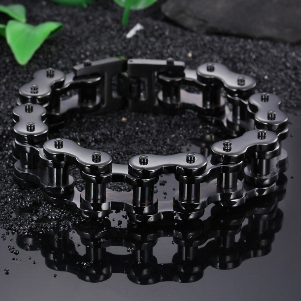 20/22MM High Quality Strong 316L Stainless Steel Black Motorcycle Biker Chain Wristband Men's Bracelet Bangle 9″ Christmas Gift