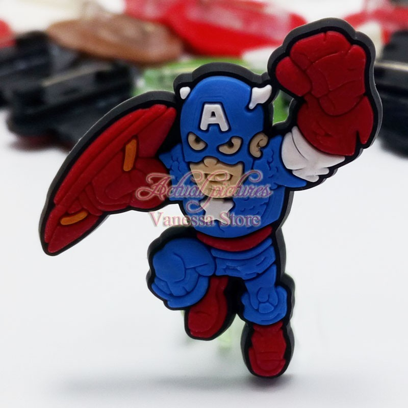 1pc Single Avengers super man Hulk decoration PVC Pins badges brooches collection DIY charms Fit Shoe Accessories Shoes Decor