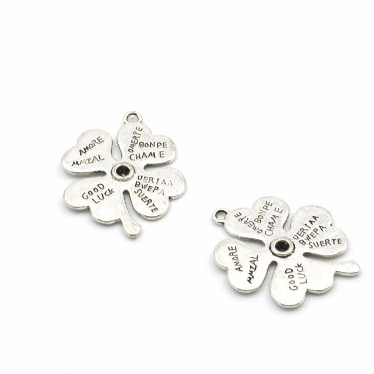 10pcs Clover pendent Leaf clover necklace pendent Antique Silver Jewelry Components