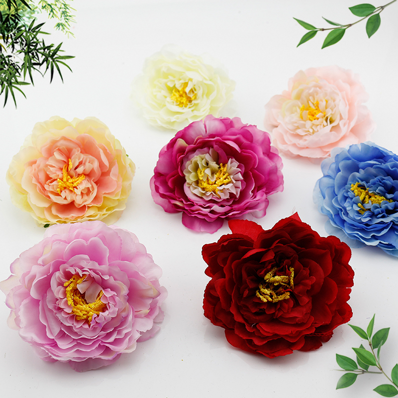 1 pcs Silk Peony Fake flower Handmade Artificial Flowers Heads Wedding Gift box scrapbooking Craft Decoration flower DIY Wreath