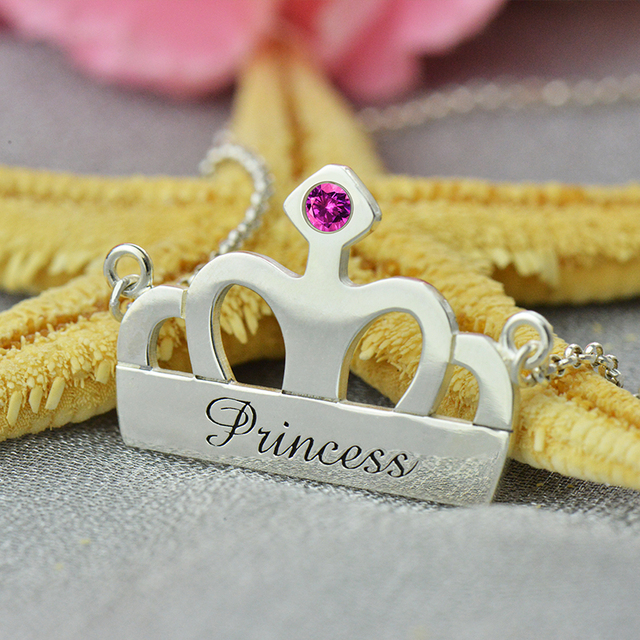 Wholesale Crown Name Necklace Silver Engraved Crown Necklace with Birthstone My Little Girls Princess Necklace Name Jewelry
