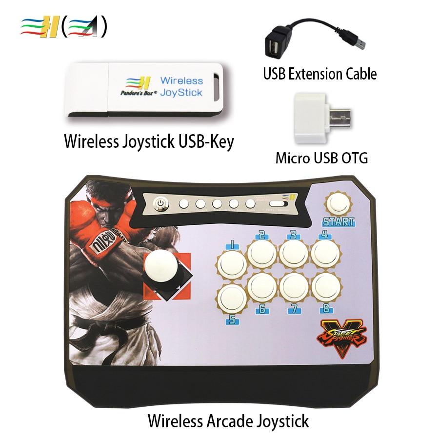 New Zero delay Pandora's Box Wireless Arcade Joystick + Wireless Joystick USB-Key Set control XBOX360 /PS3/PC/ Android Raspberry new mini arcade machines diy kits parts zero delay encoder circuit board