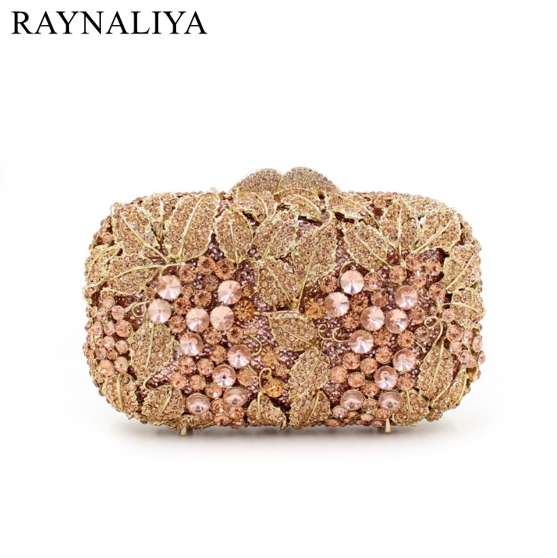 Fashion Women Beautiful Flower Crystal Box Evening Bags Small Party Handbags Wedding Purse Ladies Day Clutches Gold SMYZH-E0331