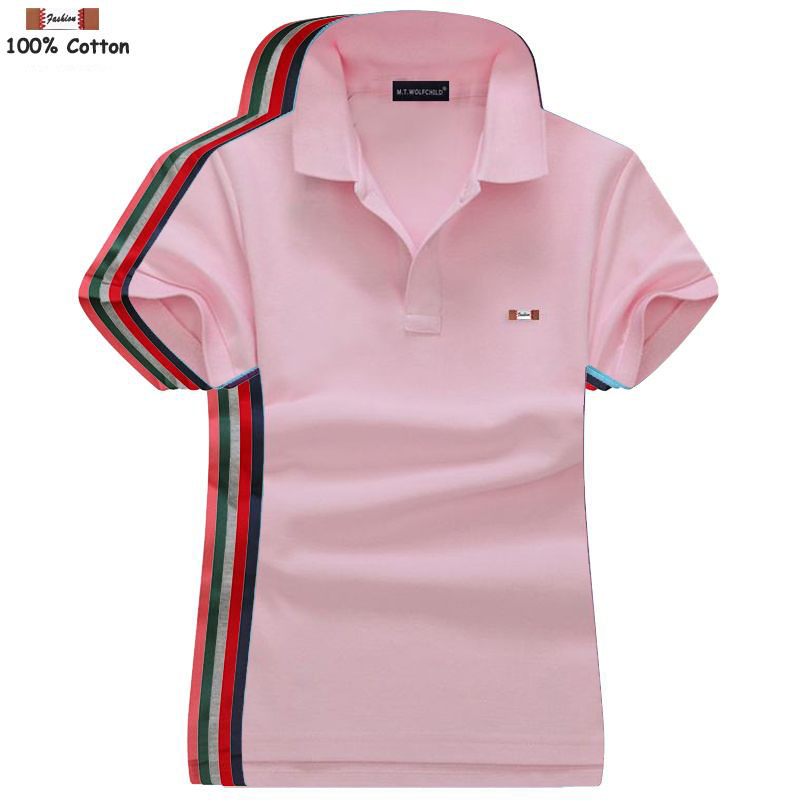 High Quality 2019 Summer Women's Short Sleeve Polos Shirts Cotton Lapel Casual Womens Solid Color Polos Shirts Fashion Lady Tops