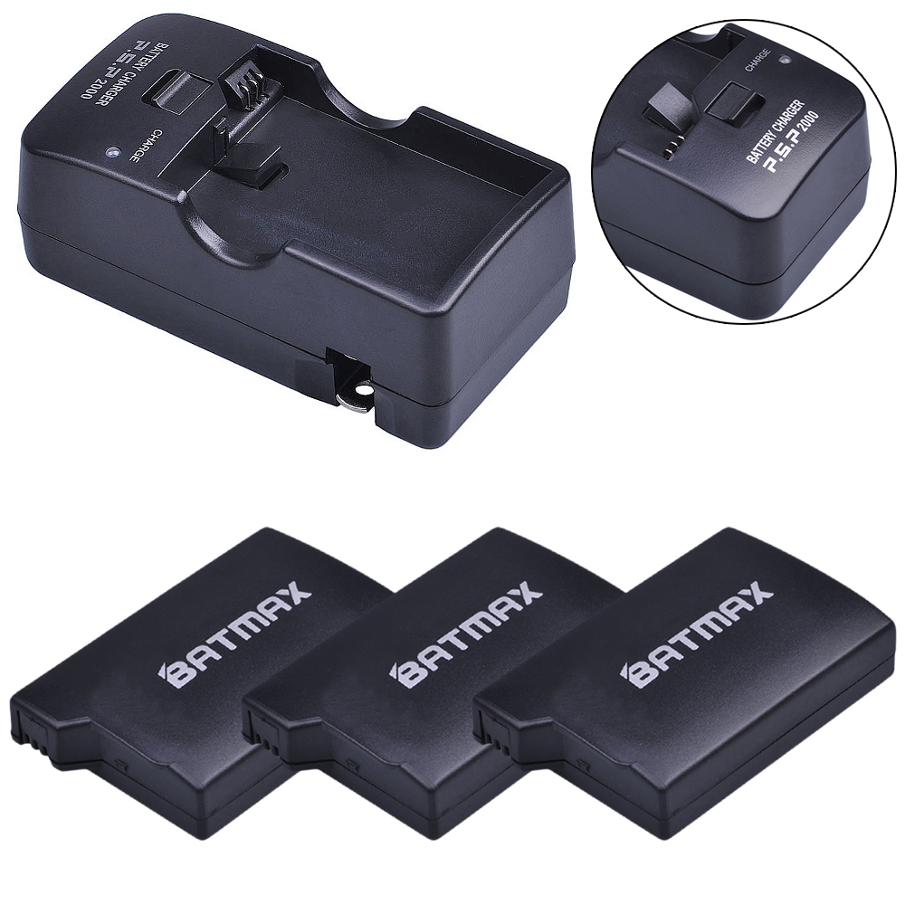For PSP 1000 PSP 1000 Battery 3.6V 3600mAh 3Pcs Batteries Accu + Charger Kits for PSP 1000 Playstation Sony PSP1000 Battery