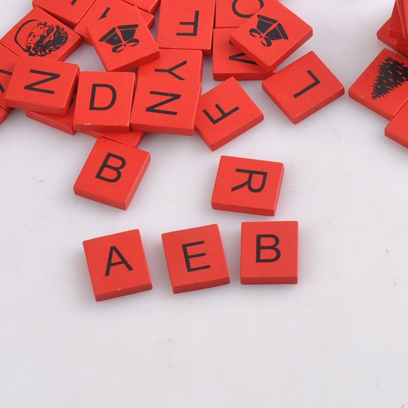 100pcs Wooden Alphabet Scrabble Tiles Red Letters beads For Crafts Wood 20x18mm MT1410