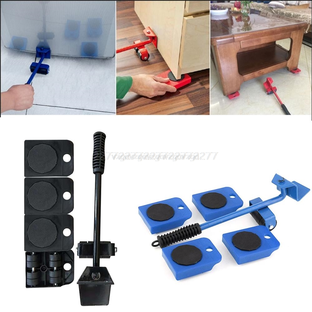 Heavy Furniture Mover Tool Set Heavy Stuffs Transport Lifter 4 Wheeled Mover Roller+1 Wheel Bar Hand Tools Jy02 19 Dropship