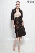 percuma penghantaran 2014 pakaian satin wanita elegan pakaian plus saiz vestidos bentuk pendek ibu pakaian pengantin dengan jaket