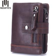 MISFITS 2018 NEW Genuine Leather Men Wallets Casual Zipper font b Coin b font font b