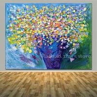 ציורי שמן פרחים מופשטים יד הגעה חדשה צבוע על בד חדר המיטה המודרני סלון פרח קיר אמנות בית תמונות דקור