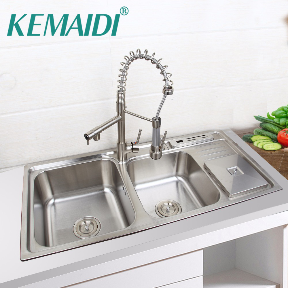 KEMAIDI Kitchen Set Nickel brushed Stainless Steel Double Sinks Undermount Washbasin W/Pull Up Down Nickel Mixer Faucet Tap free shipping ciencia stainless steel brushed nickel undermount double bowl handmake kitchen sink with faucet for kitchen