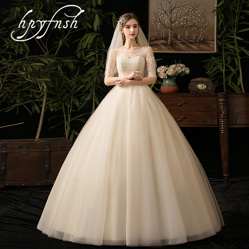 Simple Buteaful Elegance Half Sleeve Luxury Lace Illusion Beackless Wedding Dress 2019 Vestidos De Novia Sweetheart Gown 7