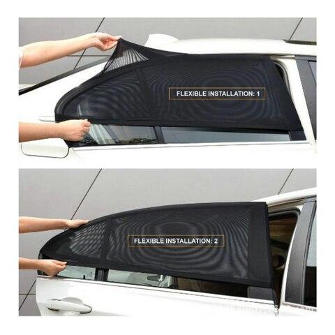 Janela de Cobre 2 Pçs e set Auto Car Window Veículo Malha Escudo Toldo Visor Escudo Tampa Mosquito Repelente Líquido Proteção uv Anti
