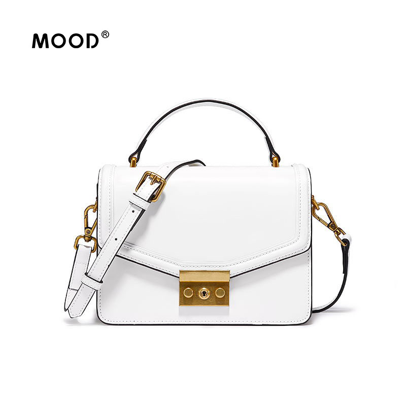 MOOD handbag Small leather bag and open edge bead cowhide fashion handbag simple all-match single shoulder bag free shipping