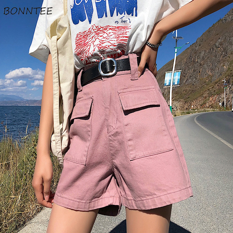 Shorts Women Simple Pockets Korean Style All-match Womens Loose Students Outside Solid Color Ladies High Quality Casual Soft New