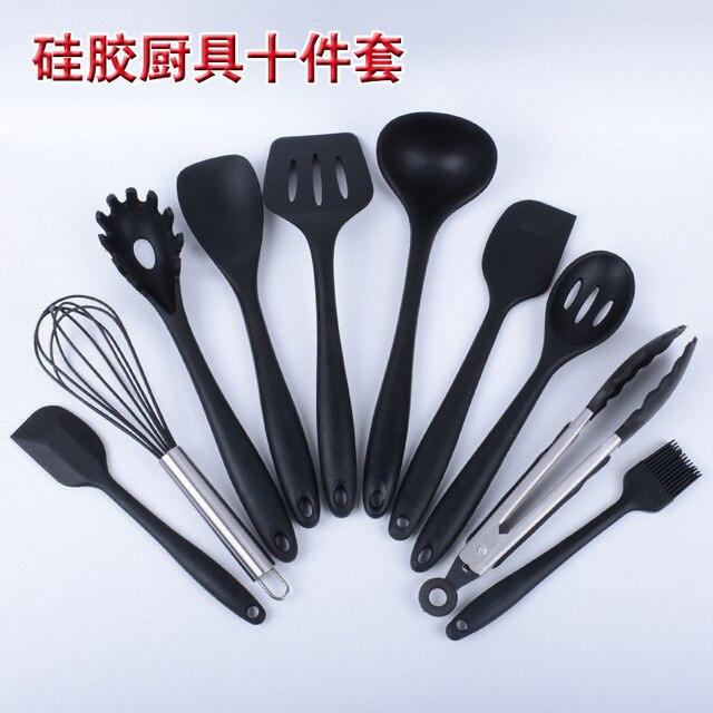 10 Pcs Set Merah Antilengket Peralatan Masak Alat Dapur Cook Ware Silikon Baking Diaan