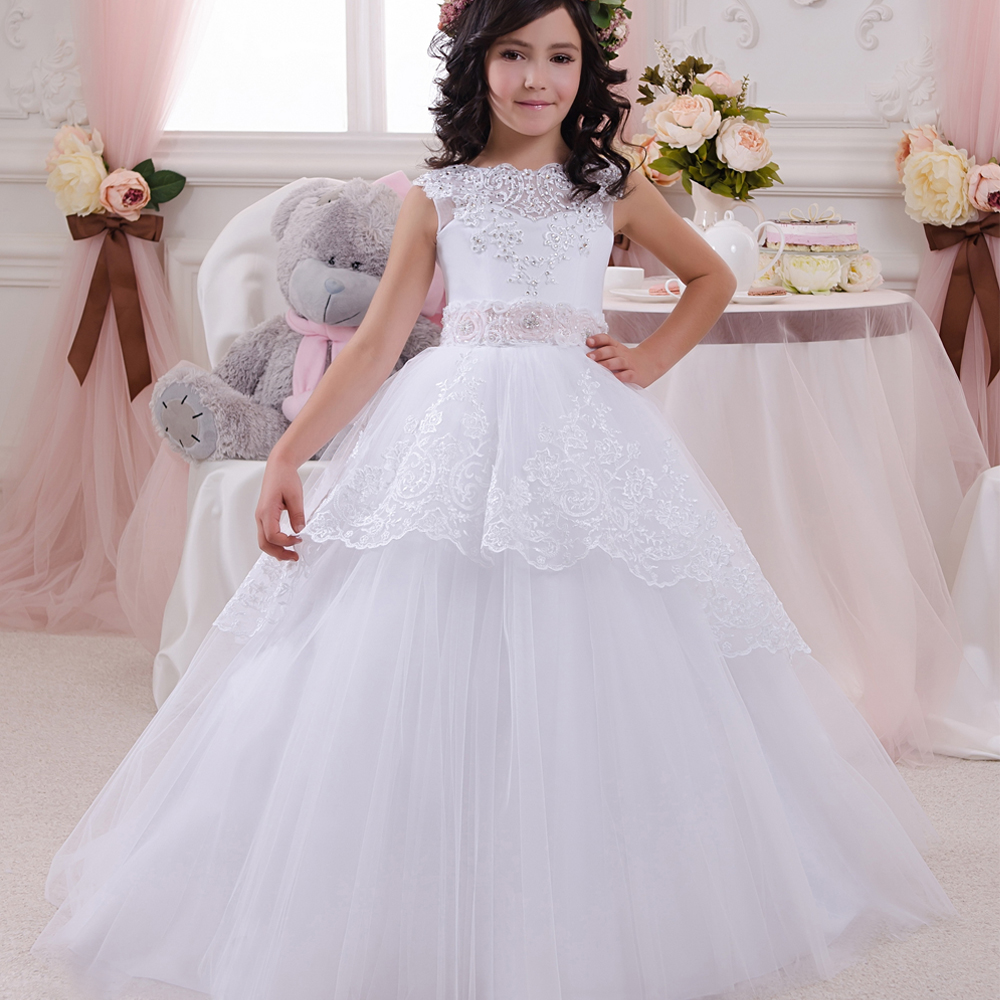 Romance Elegant Party New Year Chrismas Lace Up bow Mesh Appliques Zipper Half Sleeves Ball Gown White scoop 2-12 Year Old Girl