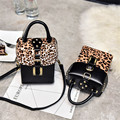Leopard Women's Handbag Rivet Shoulder Bag European and American Style Pu Flap Lady's Crossbody Bag + Free Shipping