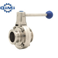 1/1 1/4/1 1/2/2 SS304 Stainless Steel Sanitary 1/1.25/1.5/2 Tri Clamp Butterfly Valve Flow Control