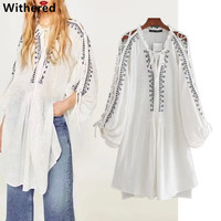 Withered Teen 2017 Kimono Blouse Plus Size Women Shirt Bohemian Embroidery Loose Long Dress Of Shirt