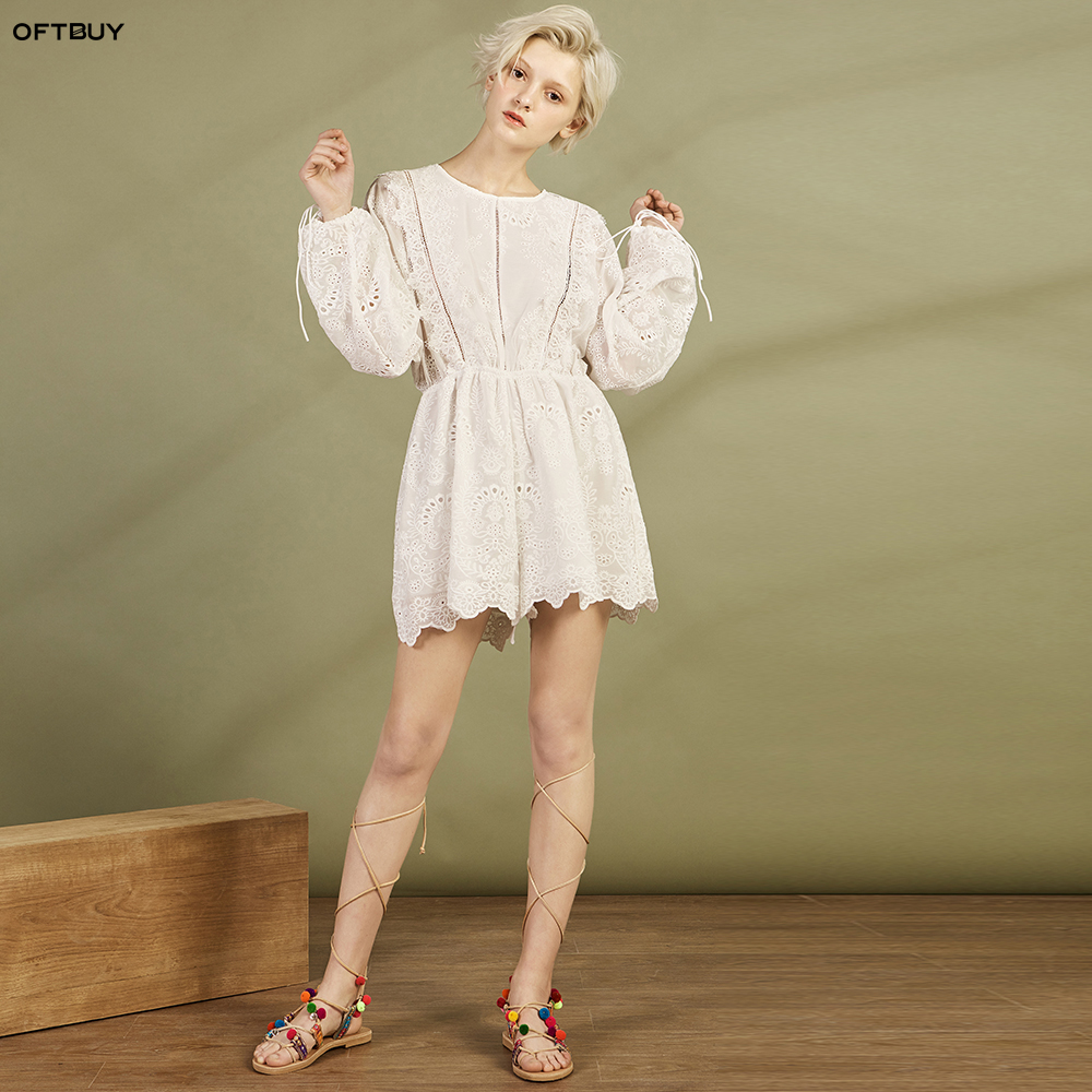 39919e4db020 hollow out floral embroidery Lace slim waist Sexy bandage Backless short  playsuits women white elegant summer