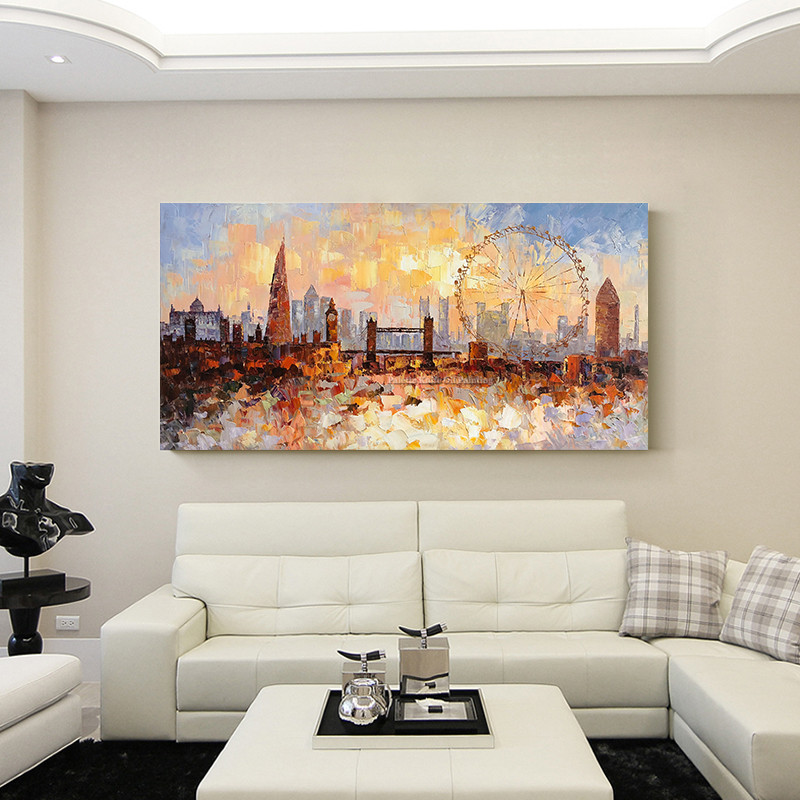 London Skyline oil painting On Canvas quadro caudro decoracion modern impasto texture cityscape wall art picture for living room