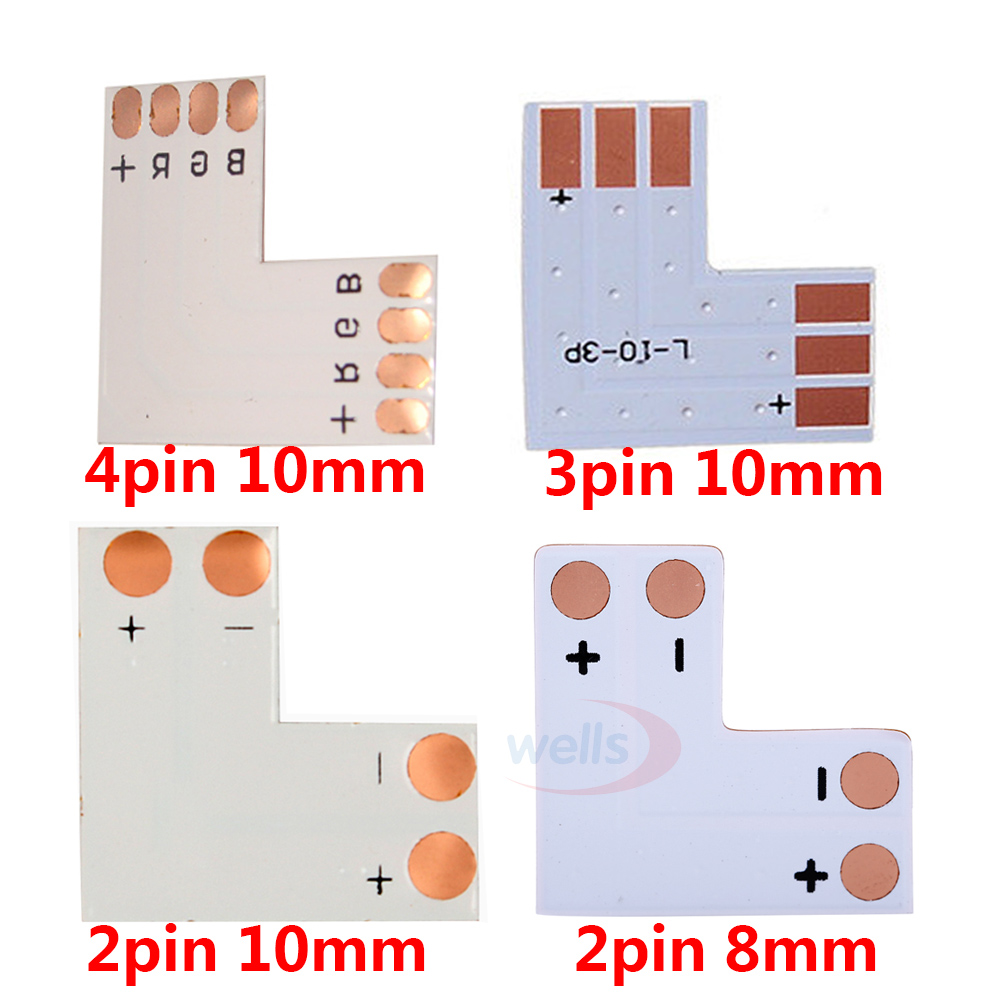 medium resolution of aliexpress com buy 5set 2pin 3pin 4pin led connector l shape for connecting corner right angle 10mm 5050 ws2811 ws2812b led strip light rgb color from