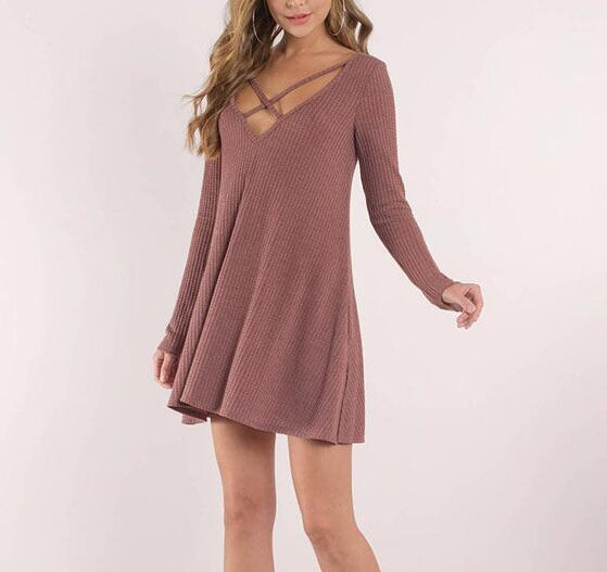 Winter Long Sleeve Sweater Dresses For Woman Bandage Mini Fit And Flare Dress 2017 WS4914Z