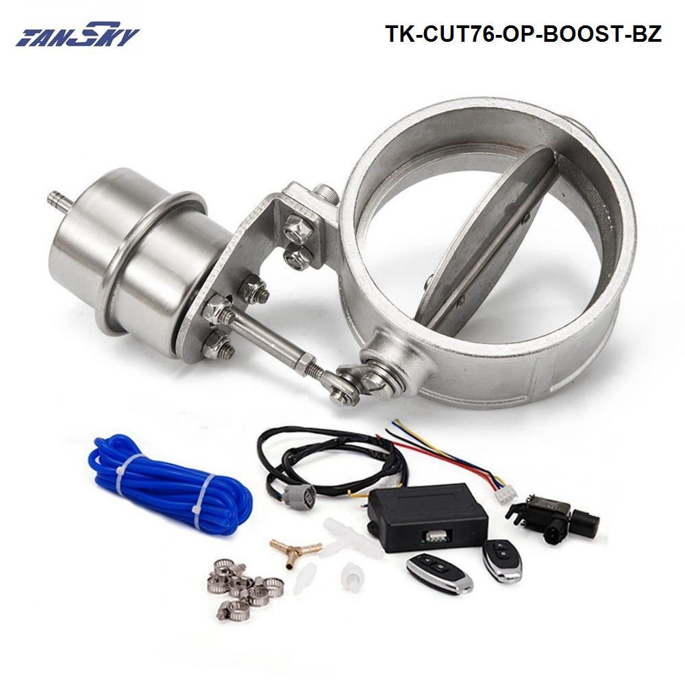 Exhaust Control Valve Set Cutout 3 76mm Pipe Opend With Boost Actuator with Wireless Remote Controller Set TK-CUT76-OP-BOOST-BZ exhaust control valve set cutout 3 76mm pipe close style with vacuum actuator with wireless remote controller set tk cut76 cl dz