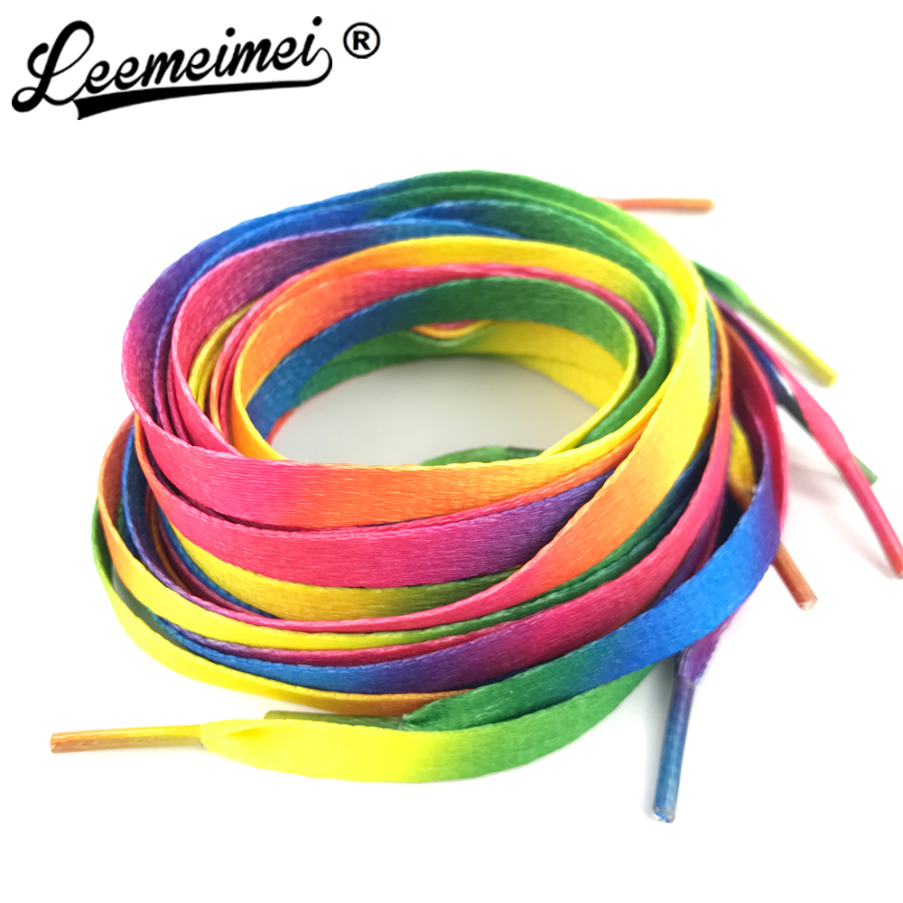 1 PAIR 80cm to 110cm Rainbow Multi-Colors Flat Sports Shoe Laces Shoelaces Strings Strap for Sneakers Unisex rainbow shoelace crystal plastic protective back case for iphone 5 transparent blue
