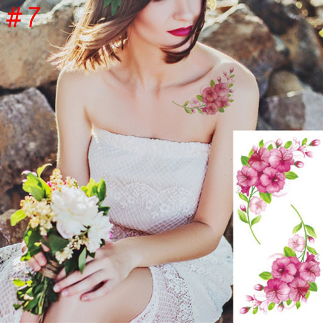 2PCS/lot Flower Temporary Fake Tattoos for Women Tattoo Sticker Fashion Body Art Tattoos Waterproof Legs Arm Fake Tatoo Paper