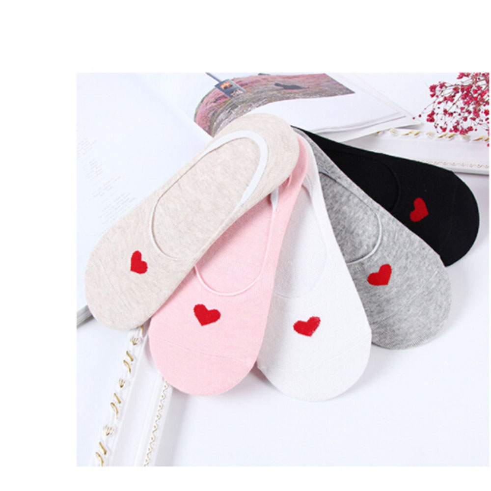 5 Pairs Non slip Love Heart  Stealth Socks Cotton Boat Shallow Socks Soft