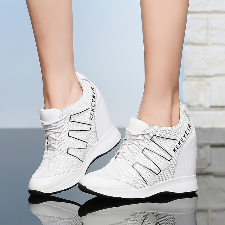 Fashion Women Height Increasing Summer Breathable mesh Wedges Sneakers Platform Shoes Genuine Leather Woman Casual Shoes 10CMFashion Women Height Increasing Summer Breathable mesh Wedges Sneakers Platform Shoes Genuine Leather Woman Casual Shoes 10CM