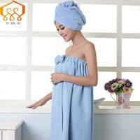 Women Bath Towel Microfiber Fabric Beach Towel Soft Wrap Women Bath Skirt Dry Hair Cap Set