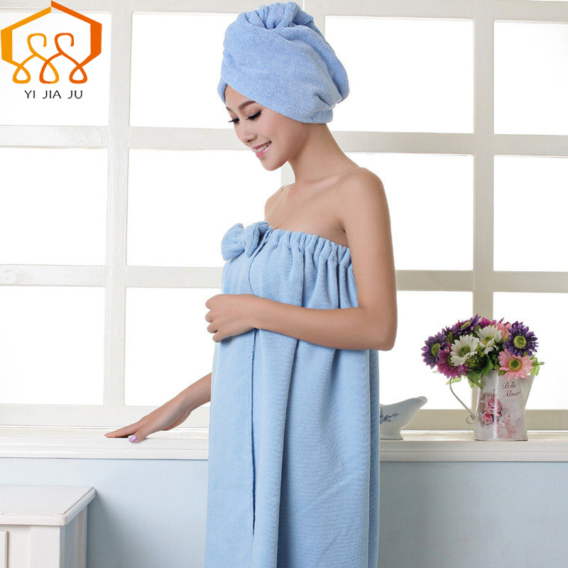 Women Bath Towel Microfiber Fabric Beach Towel Soft Wrap Women Bath Skirt Dry Hair Cap Set Super Absorbent Home For Bathroom