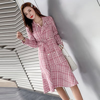 autumn Winter Tweed Dress Ladies Long sleeve Slim Pocket Women Elegant Double breasted Beading Pearl Casual Woolen Trench Dress