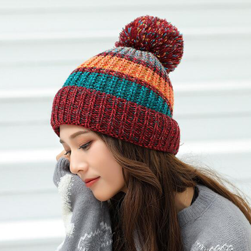 New Winter Hat For Women Ski Women's Cap Rainbow Colorful Wool Knitted Hat With Pompoms Female Warm Hat   Skullies     Beanies