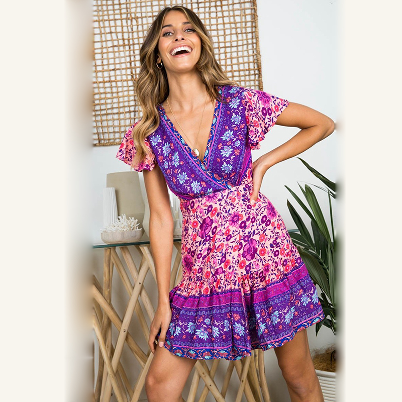 KHALEE YOSE Summer Vintage Floral Mini Women Dress Short Sleeve Ruffles Boho Hippie Dress V-neck Sexy Beach Holiday Dresses 2019
