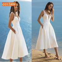 Elegant Short Wedding Dress 2019 Wedding Gowns Women Bohemian Lace Stretch Fabric Zipper Tea Length Beach Bridal Party Dresses