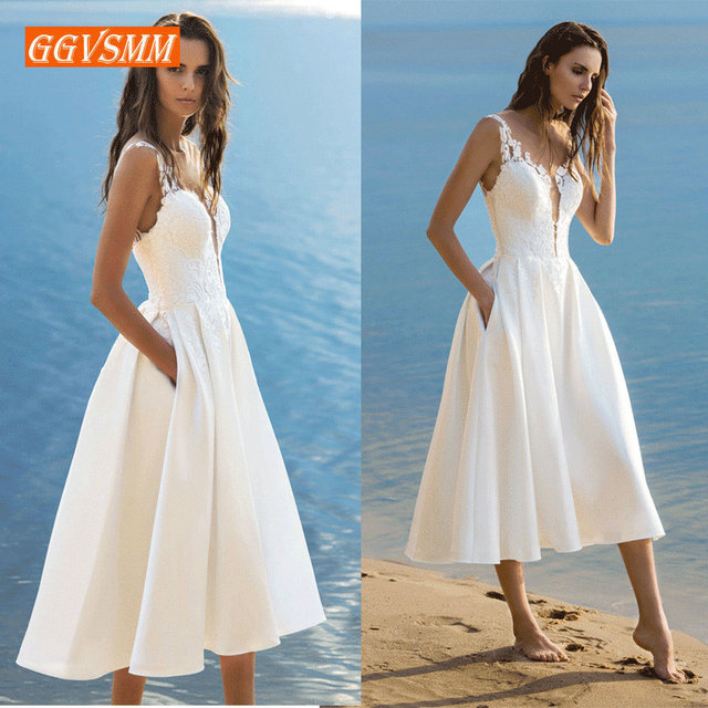 Us 34 71 11 Off Elegant Short Wedding Dress 2019 Wedding Gowns Women Bohemian Lace Stretch Fabric Zipper Tea Length Beach Bridal Party Dresses In