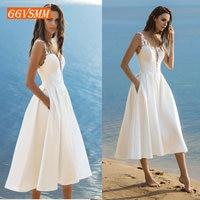 Elegant Short Wedding Dress 2019 Wedding Gowns Women Bohemian Satin Lace Appliques Zipper Tea Length Beach Bridal Party Dresses