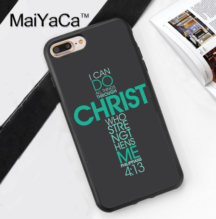 Bible Philippians Jesus Christ Christian Phone Case Cover For iPhone 7 7Plus 6 6S Plus 5 5S 5C SE 4 4S Soft TPU Back Shell Cover