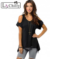 New Arrivals Women S Casual Style Army Green V Neck Cold Shoulder Swing Top LC25790 Women