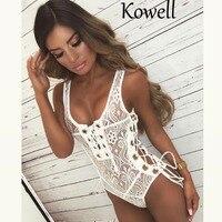 Kowell 2018 New Fashion Sexy Female Spandex Lace Material Slim Bodysuits Sleeveless Bandage Bodycon Bodysuits